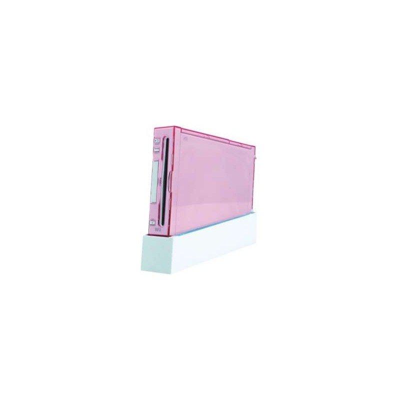 Carcasa protectora wii + soporte con ventilador ( Rosa )