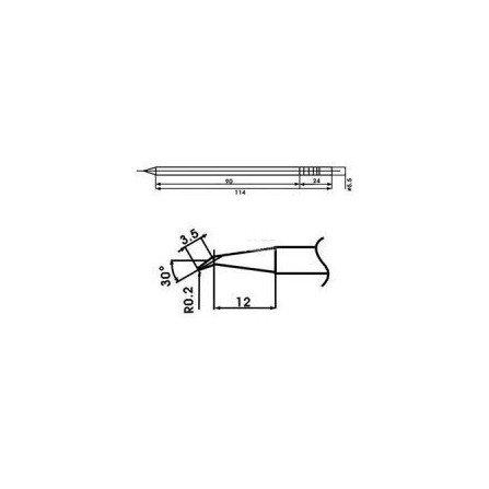 Cartucho soldador punta Redonda Inclinada AOYUE ( WQ-02J )