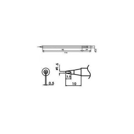 Cartucho soldador punta Redonda Inclinada AOYUE ( WQ-16D )