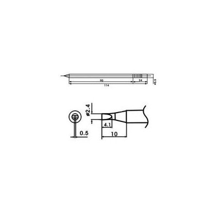 Cartucho soldador punta Redonda Inclinada AOYUE ( WQ-24D )