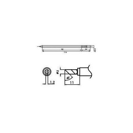 Cartucho soldador punta Guillotina AOYUE ( WQ-KU )