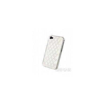 Funda Rigida iPhone 4G / 4s ( Rombos de Piel Blanca )