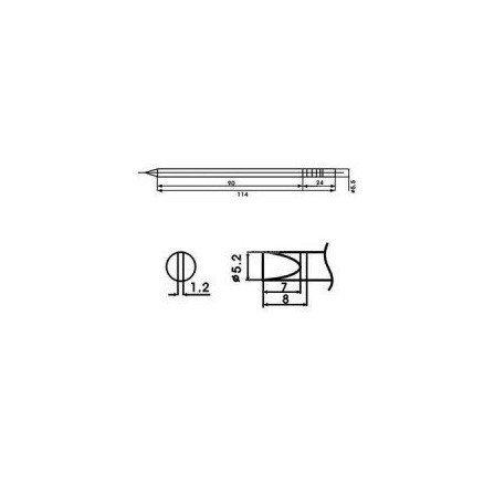 Cartucho soldador punta Redonda Inclinada AOYUE ( WQ-52D )