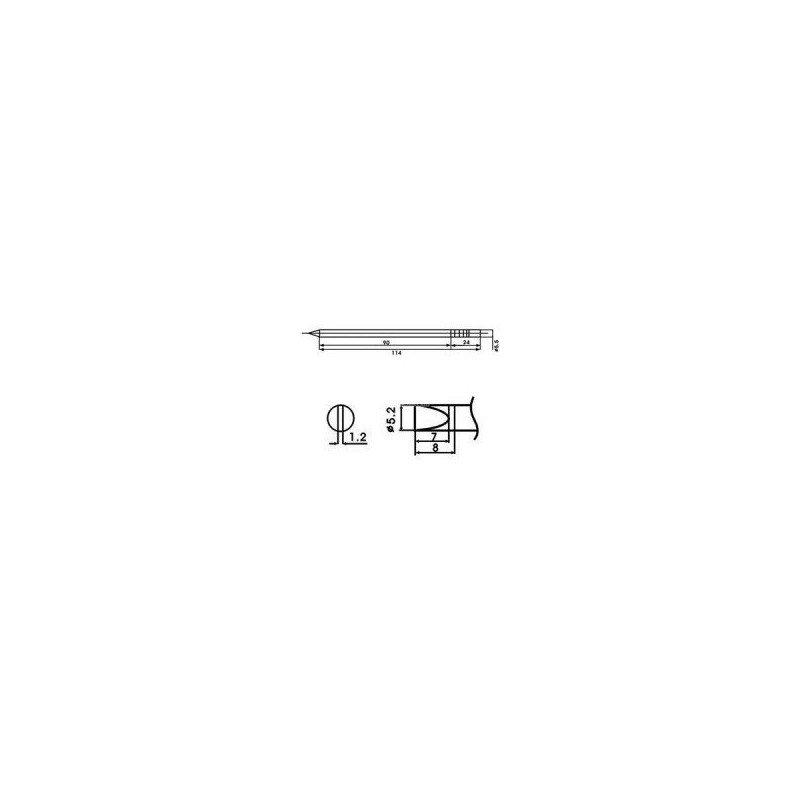 Cartucho soldador punta Redonda Inclinada AOYUE ( WQ-52D )Cartucho soldador punta Redonda Inclinada