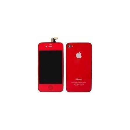 Pantalla Retina LCD + Tactil + Carcasa trasera + Boton home iPhone 4G ( Set conversión Rojo )