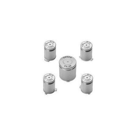 Kit botones metal  casquillo de bala para mando XBOX360 ( Plata )