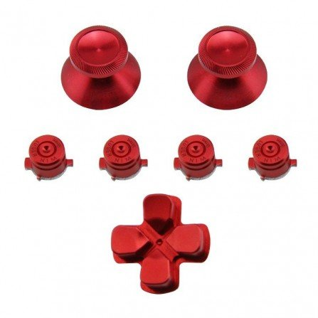 Kit botones aluminio SETAS + BALAS + CRUCETA DualShock 4 PS4 ROJO