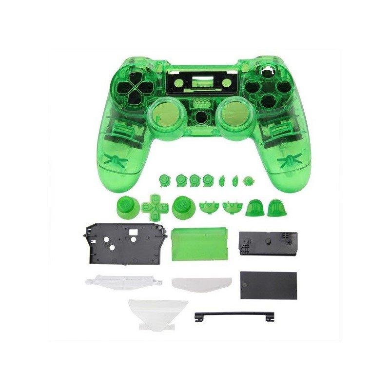Carcasa completa + botones DualShock 4 PS4 (Transparente VERDE)