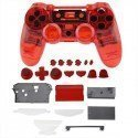 Carcasa completa + botones DualShock 4 PS4 (Transparente ROJA)