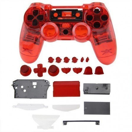 Carcasa completa + botones DualShock 4 PS4 - CRISTAL RED