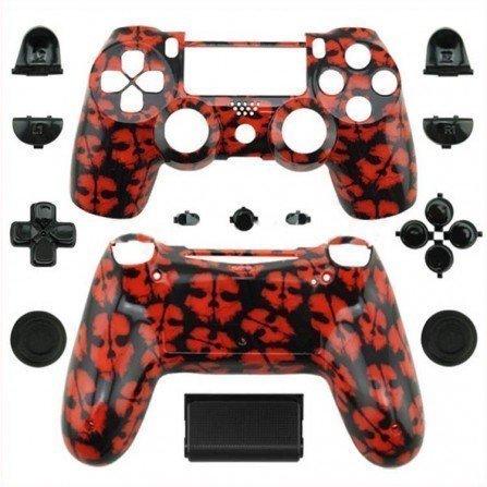 Carcasa completa + botones DualShock 4 PS4 - CALAVERA ROJA