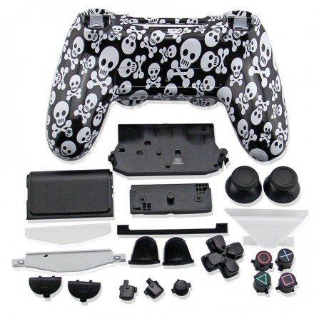Carcasa completa + botones DualShock 4 PS4 - Calaveras negras