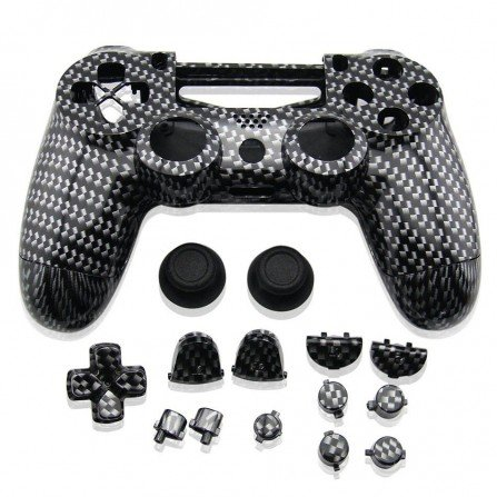 Carcasa completa + botones DualShock 4 PS4 (Fibra Carbono)