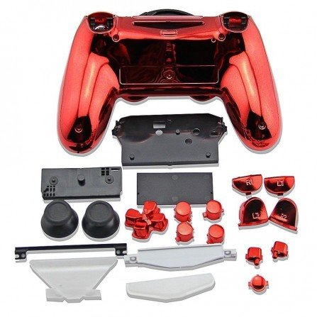 Carcasa completa + botones DualShock 4 PS4 - ROJO METALIZADO
