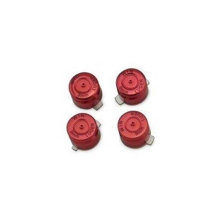 Kit botones metal  casquillo de bala DualShock 4 PS4 (Rojo)