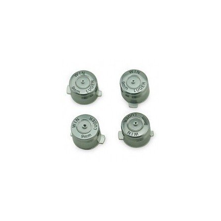 Kit botones metal  casquillo de bala DualShock 4 PS4 (Plata)