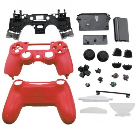 Carcasa completa + botones DualShock 4 PS4 - ROJA