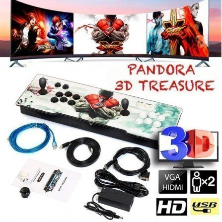 Joystick doble con maquina recreativa - Pandora BOX TREASURE 3D