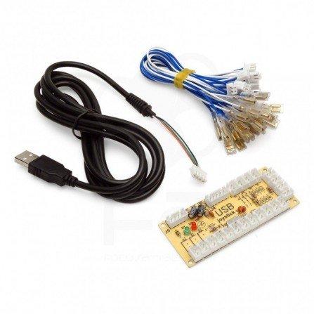 CONTROLADOR USB ARCADE - ZERO DELAY 1 PLAYER - PS3 XBOX PC RASPBERRY