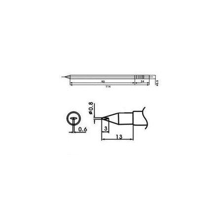 Cartucho soldador punta Redonda Inclinada AOYUE ( WQ-08LD )