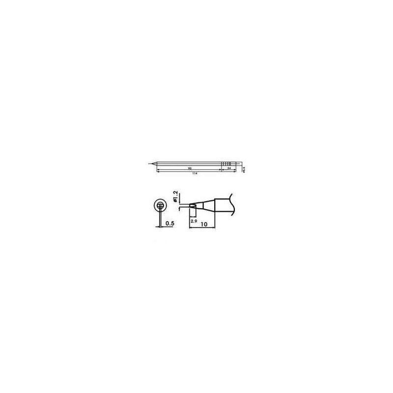 Cartucho soldador punta Redonda Inclinada AOYUE ( WQ-12D )