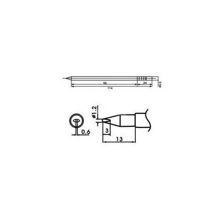 Cartucho soldador punta Redonda Inclinada AOYUE ( WQ-12LD )