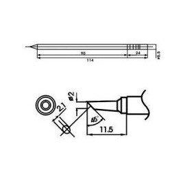 Cartucho soldador punta Biselada AOYUE ( WQ-2BC )