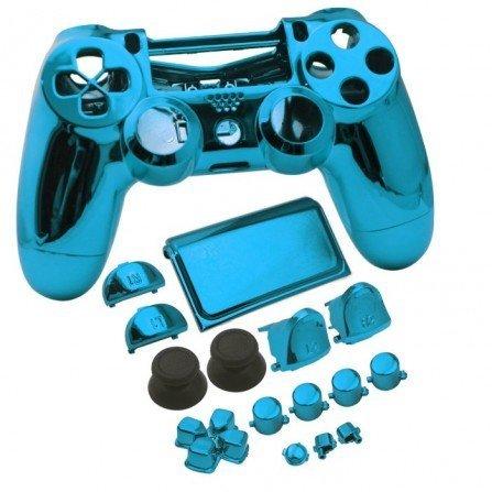 Carcasa mando DualShock 4 PS4 V2 - AZUL CROMADO
