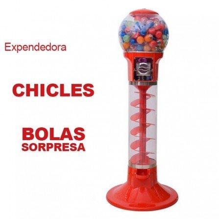 Maquina expendedora chicles de bola - ROJA TOBOGAN