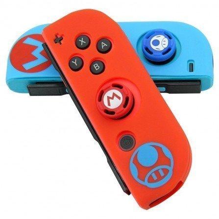 Funda protectora silicona Joy Con + Caps Nintendo Switch - MARIO Bicolor