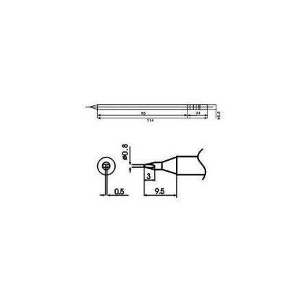 Cartucho soldador punta Redonda Inclinada AOYUE ( WQ-08D )