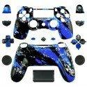 Carcasa completa + botones DualShock 4 PS4 - rasgado azul