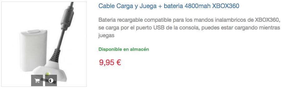 cable carga y juega bateria mando xbox 360